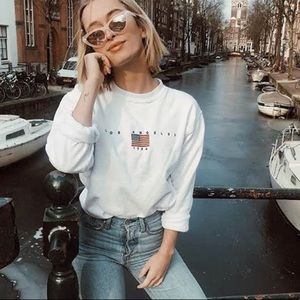 NWT LA 1984 Embroidered Flag Long Sleeve Top
